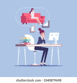 Tired businesswoman working at the table and thinking to relax at home on the sofa with a cup of coffee. Female office employee overloaded at work and dream about the rest vector flat illustration