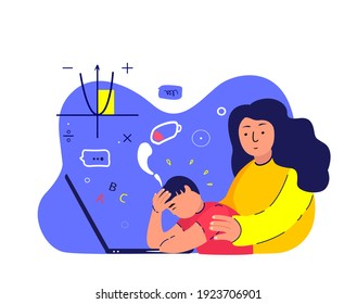 Tired Busy Exhausted Pupil Boy Study Online School in Laptop.Mother Support,Maintain Son.Depressed Teenager.Mom Protect Teen Child Student,Schoolboy.No energy.Fatigue,Weakness.Flat Vector Illustration