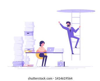 A tired, busy woman is sitting at her desk and looking at her colleague who has been promoted. A successful man is climbing up the stairs. Career development. Envy of colleagues. Vector illustration.