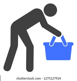 Tired buyer persona vector icon symbol. Flat pictogram is isolated on a white background. Tired buyer persona pictogram designed with simple style.