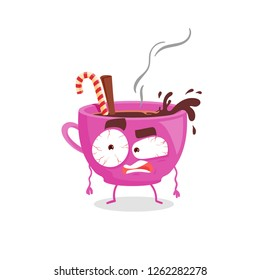 Tired cartoon flat coffeee cup, red eyes, sleeping mode, vector illustration of cartoon character