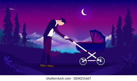 Tired dad on paternity leave - Exhausted man walking with baby stroller outdoors at night trying to get the baby to sleep. Fatherhood and baby daddy concept.