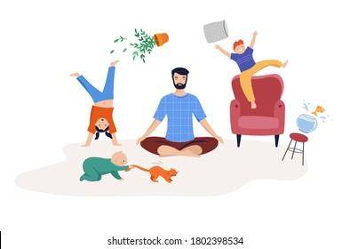 Tired dad of two kids trying to relax, to meditate. Children play, jump and run around him