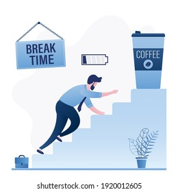 Tired employee crawls up stairs for cup of coffee. Break time, businessman with low battery. Coffee to go. Timeout after hard work. Overwork concept. Funny male character. Flat vector illustration