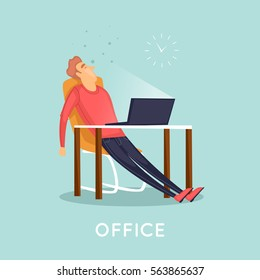 Tired employee sleeping in the office. Flat vector illustration in cartoon style.
