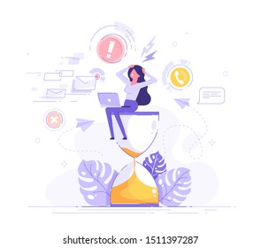 Tired and exasperated business woman is sitting on an hourglass and grabbed his head with business process icons and infographics on background. Stress in the office. Rush work. Deadline. Vector.