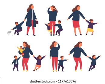 Tired exhausted mother with naughty kids. Busy parents with children. Vector illustration