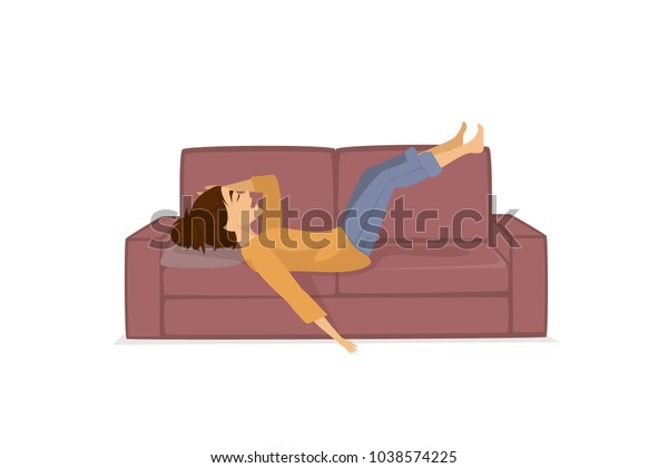 tired exhausted woman lying resting relaxing legs up on couch sofa isolated vector illustration