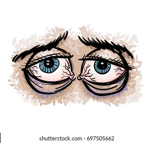 Tired eyes cartoon hand drawn image. Original colorful artwork, comic childish style drawing.