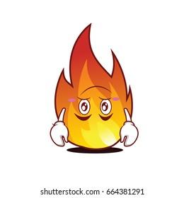 Tired fire character cartoon style vector art