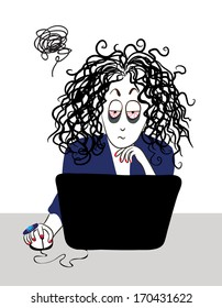 The tired girl with curly hair working near the computer.