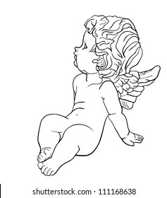 Tired little angel with wings sitting on the ground, black and white vector drawing