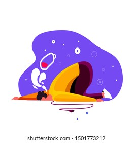 Tired man fell on the floor laid his exhausted head. Overwhelmed workaholic got his batter low, has no energy to move on. Frustrated guy in a terrible fatigue and weakness. Flat vector illustration