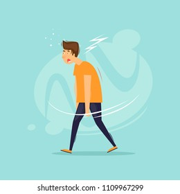 Tired man goes. Flat design vector illustration.