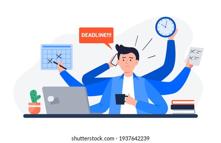 A Tired Man Missing Deadline. An Office Worker Overwhelmed by Work, Reports, and Calls. Vector Flat Illustration.