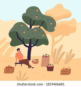 Tired man sitting on bench eating apple relaxing after harvest picking vector flat illustration. Male agricultural worker resting under tree at garden. Guy at autumn seasonal agriculture work