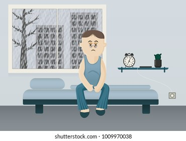 Tired man sitting on his bed. Rain outside the window. Vector flat design.