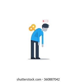 Tired man, sleepy mood, weak health, mental exhausted, vector flat illustration