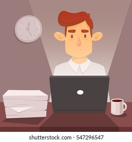 Tired man working at a computer. He's in the office. Night. Vector cartoon illustration. Character