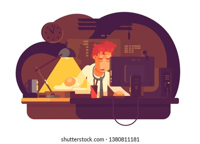 Tired man working in night office vector illustration. Wearied boy sitting at workplace late flat style concept. Over exhausted worker having large amount of work