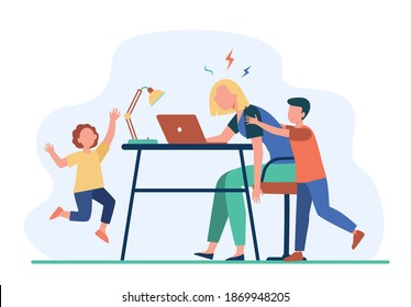 Tired mom working at laptop at home. Active kids bothering freelance mother flat vector illustration. Motherhood, lockdown, distance work concept for banner, website design or landing web page