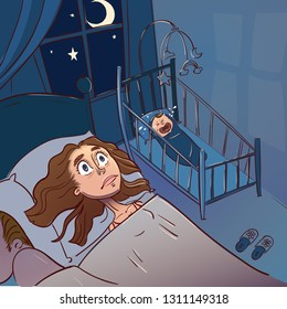 Tired mother can't to sleep because her baby won't stop crying at night. Cartoon vector illustration.