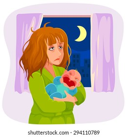 tired mother holding a crying baby at night