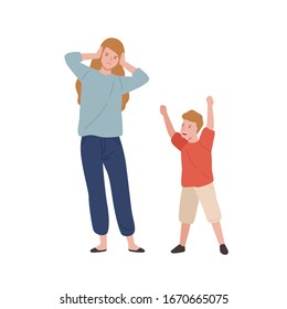 Tired mother holding head near screaming son isolated on white. Woman have stress and headache during motherhood vector flat illustration. Parents and children relationship