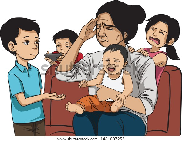 tired mother and many children. Crying baby and daughter, older brother ask for money. children's behaviour, hyperactivity, requires attention - vector