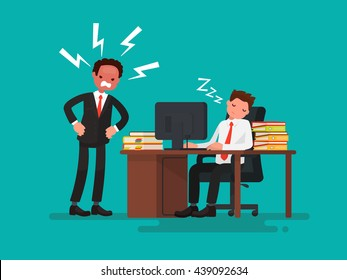 Tired office worker asleep at a desk next to it is an angry boss. Vector illustration of a flat design