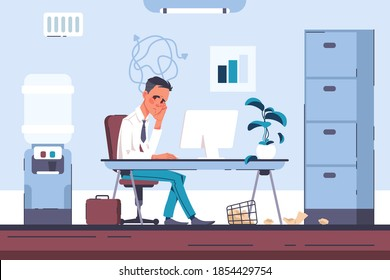 Tired office worker. Burnout businessman with headache, overloaded employee in psychological stress. Cartoon man working at computer. Pressure tension and financial trouble, vector modern workplace