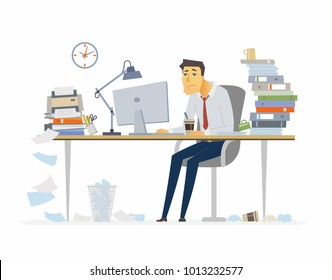 Tired office worker - modern cartoon people characters illustration on white background. Young man sitting at the desk and drinking coffee. A workplace with a lot of papers, folders. Deadline concept