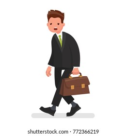Tired office worker. Stress at work. Concept of failures in business. Vector illustration in a flat style