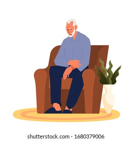 Tired old man sitting in the armchair. Eldery person with lack of energy. Exhausted grandfather. Vector illustration in cartoon style
