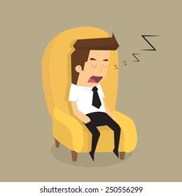 Tired overworked businessman sleeps on sofa.vector
