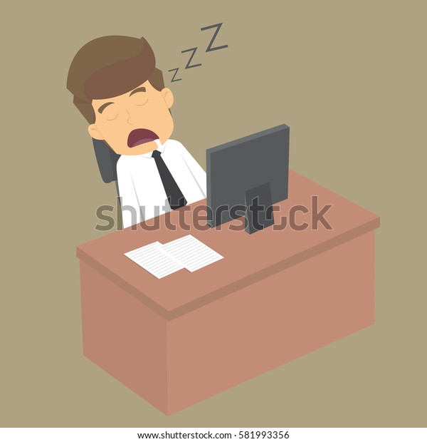 Tired overworked businessman sleeps on desk. vector