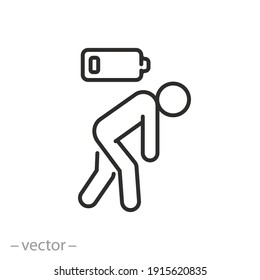 tired person icon, fatigue or exhausted, lack battery energy, low charge, burnout workplace, stress, thin line symbol on white background - editable stroke vector illustration