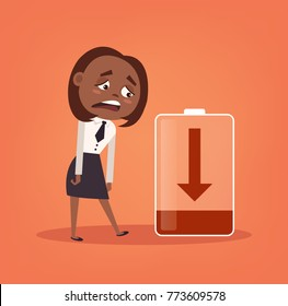 Tired sad African American office worker business woman character has no energy. Hard work. Vector flat cartoon illustration