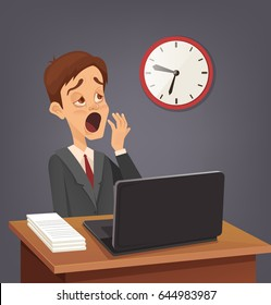 Tired sad busy office worker man character yawn. Vector flat cartoon illustration