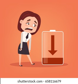 Tired sad office worker business woman character has no energy. Hard work. Vector flat cartoon illustration