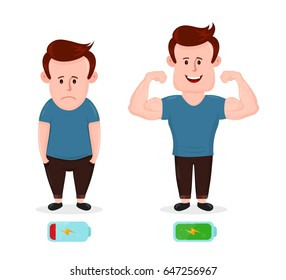 Tired sad young man with low energy level and energy strong muscular happy man. Vector flat modern style illustration character icon design. Isolated on white background. Battery icon