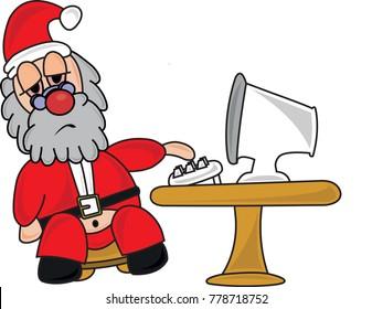 Tired Santa Claus at his Computer