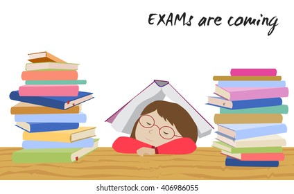 Exam preparation images stock photos vectors shutterstock tired schoolgirl sleeping under a book examination test preparation exam student stress before thecheapjerseys Image collections