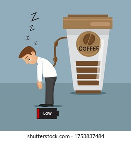 Tired sleepy businessman low battery charger with coffee, illustration vector cartoon