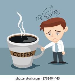 Tired Sleepy Businessman Worker With Big Coffee Mug, illustration vector cartoon