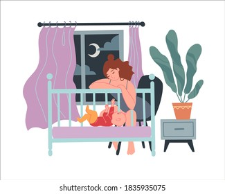 Tired sleepy mom rocks the baby in the cradle. concept of postpartum depression and difficulties of motherhood. Flat vector illustration. Isolated on white. Sleepless nights with a child
