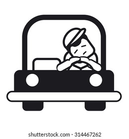 Tired sleepy young man driving a car.  Black and white illustration.