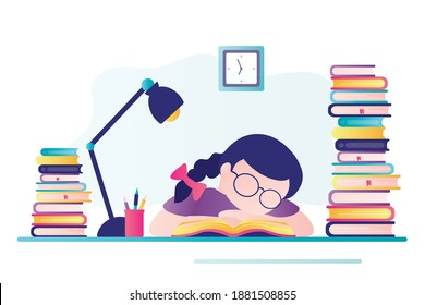 Tired student preparation for exam or test. Schoolgirl sleeps at desktop. Exhausted child does lot of homework. Girl sleeping among books at table. Banner in trendy style. Flat vector illustration