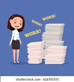 Tired unhappy office worker woman character. Hard work. Vector flat cartoon illustration