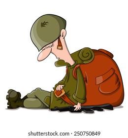 Tired vector cartoon sleeping soldier